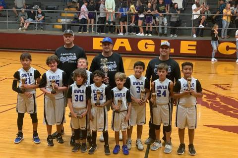 Courtesy photo The Anderson-Shiro Junior Boys finished second at the Little Dribblers National Tournament in Fairfield. Players pictured front row left to right: Kaden Murphy, Juan Rodriguez and Noah Busa. Middle row: Jace Kimich, Nolan Womack, Myles Borski, Gavin Smith, William Borski and Xavier Franklin. Back row: Coaches Leon Kimich, Craig Murphy and Kevin Smith.