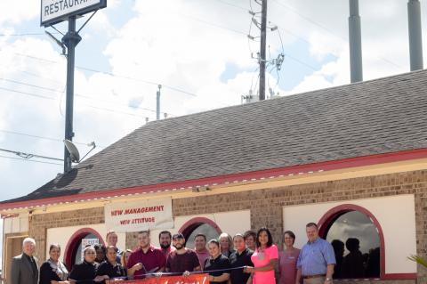 Examiner photo by Erica Grifaldo                    Herrera's Mexican Restaurant had an official ribbon cutting Friday, Aug. 23 at their location, 8734 N Hwy 6 Loop in Navasota. The restaurant formerly known as Erick's Mexican Restaurant is under