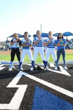 Navasota Lady Rattlers hosted Grimes County Little League night Friday, April 2. Picture, left to right: Quinn Henry, Mayra Castillo, Kylie Maxson, Callen Katkoski and Mahayla Ybarra. Examiner photo by Matthew Ybarra